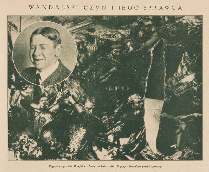 """Uszkodzenie obrazu w 1928 roku / fot. w: """"Tygodnik Ilustrowany"""" 1928, I półrocze, s. 257"""