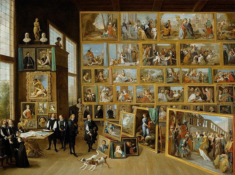 David Teniers Mł, Arcyksiążę Leopold Wilhelm i artysta w książęcej galerii obrazów w Brukseli