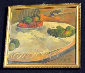 """Paul Gauguin """"Still Life of Fruit on a Table With a Small Dog"""" , źródło: AP Photo"""