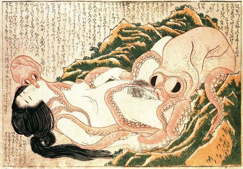 Hokusai. Marzenie żony rybaka. 1814