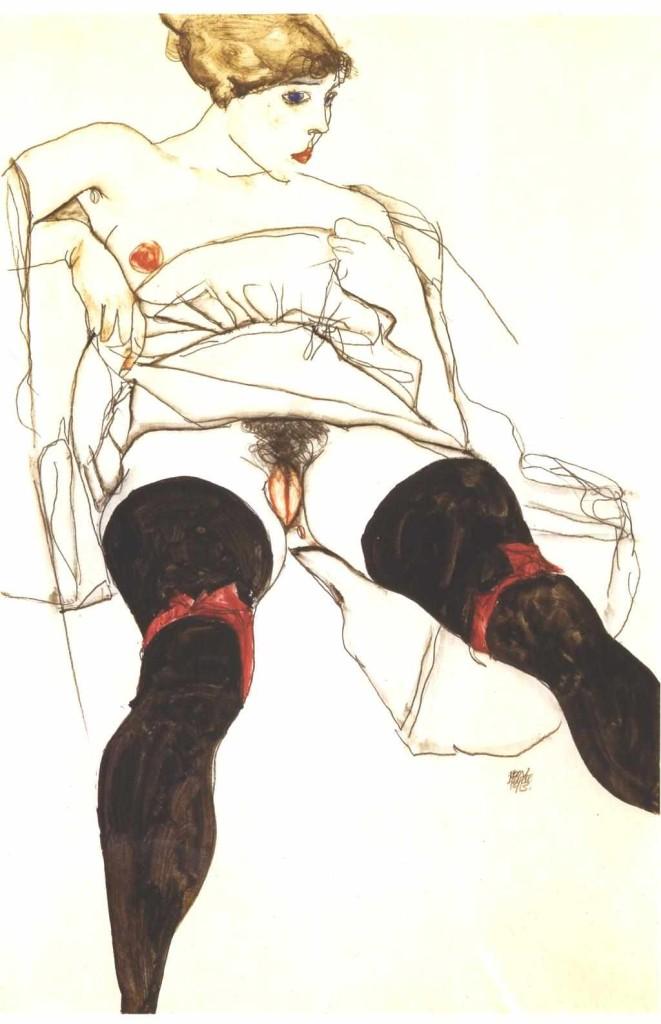 Egon Schiele. Kobieta w czarnych pończochach. 1913. Kolekcja prywatna