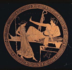 """Malarz Brygosa """"Czerwonofigurowy puchar"""" (490 - 480 przed n.e.), źródło:  Muzeum Brytyjskie"""