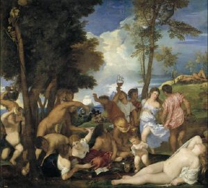 """Tycjan """"Bachanalie"""" (1523-1526), źródło: Prado"""