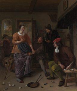 """Jan Steen """"Wnętrze Hotelu (Rozbite jajka)"""" (ok. 1665-70), źródło: National Gallery w Londynie"""