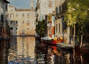 """Chen Yifei """"End of the Canal, Venice"""", 1990, źródło: Hammer Galleries"""