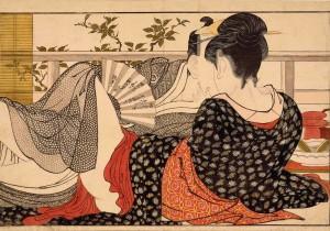 """Kitagawa Utamaro, """"Lovers in an Upstairs Room"""", British Museum"""