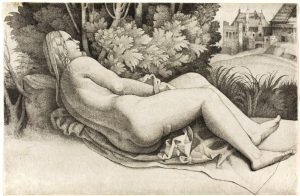 """Giulio Campagnola, """"Woman Reclining in a Landscape"""", Cleveland Museum of Art"""