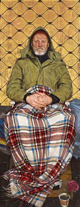 Thomas Ganter, Mężczyzna z pledem, 2014, źródło: National Portrait Gallery