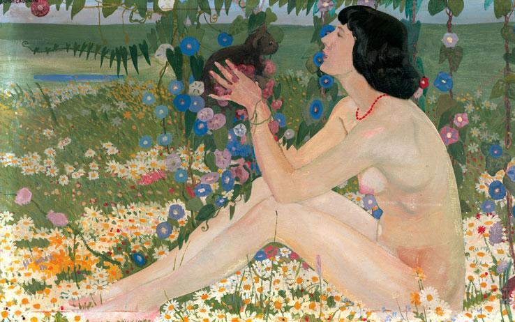 Guido Cadorin, Akt kobiecy na ukwieconej łące, XX wiek