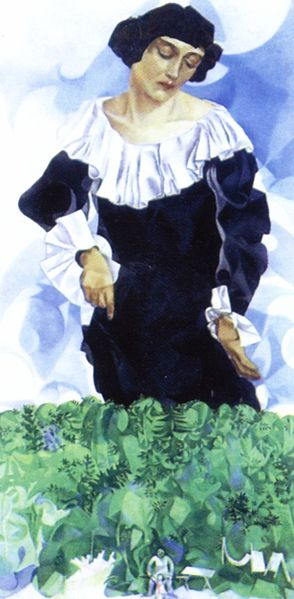 Marc Chagall, Bella with White Collar, źródło: Wikiart
