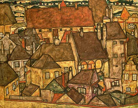 Egon Schiele, Żółte miasto, 1914, z prywatnej kolekcji, Nowy Jork