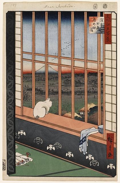 Hiroshige, Kot w oknie, XIX wiek