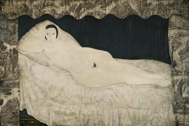 Tsuguharu Foujita, Akt leżącej kobiety z ornamentem liberty w tle, 1922