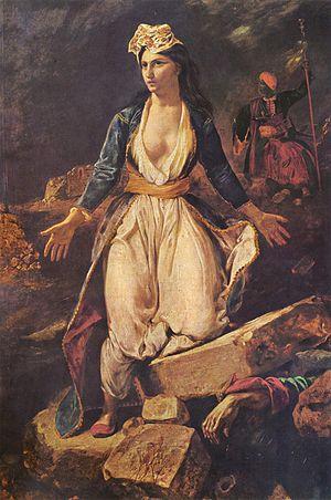 Eugène Delacroix, Grecja na ruinach Mesolongi, 1826,  Musée des Beaux-Arts de Bordeaux