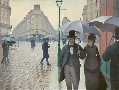 Gustave Caillebotte. Paryska ulica. Deszczowy dzień, 1877, Art Institute of Chicago.