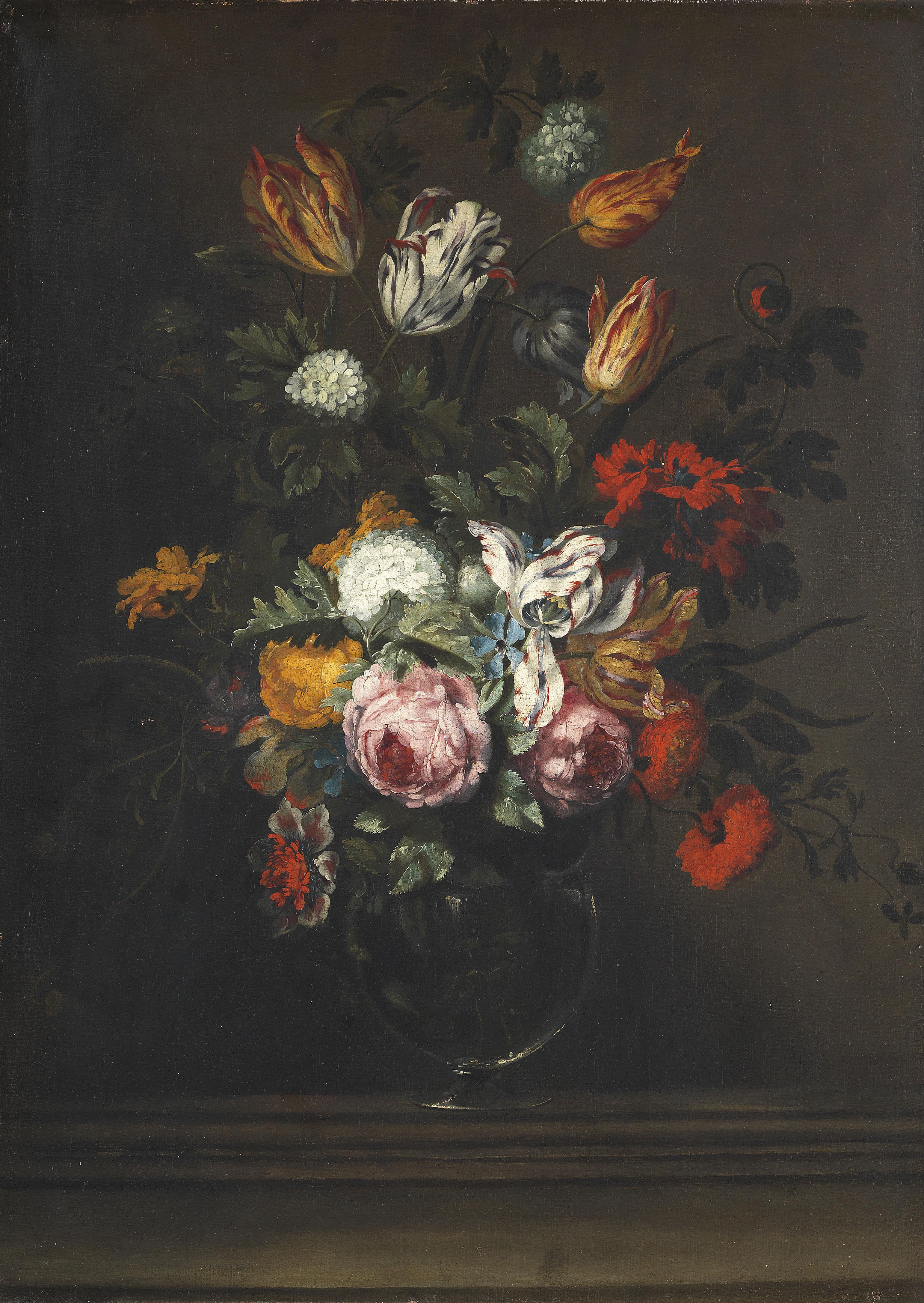 Artykwariat,  Jan Pieter BRUEGHEL [1628-1684] Martwa natura z różami i tulipanami na kamiennym cokole, 1655 - 1670 , olej na płótnie, 79,5 x 75,5 cm