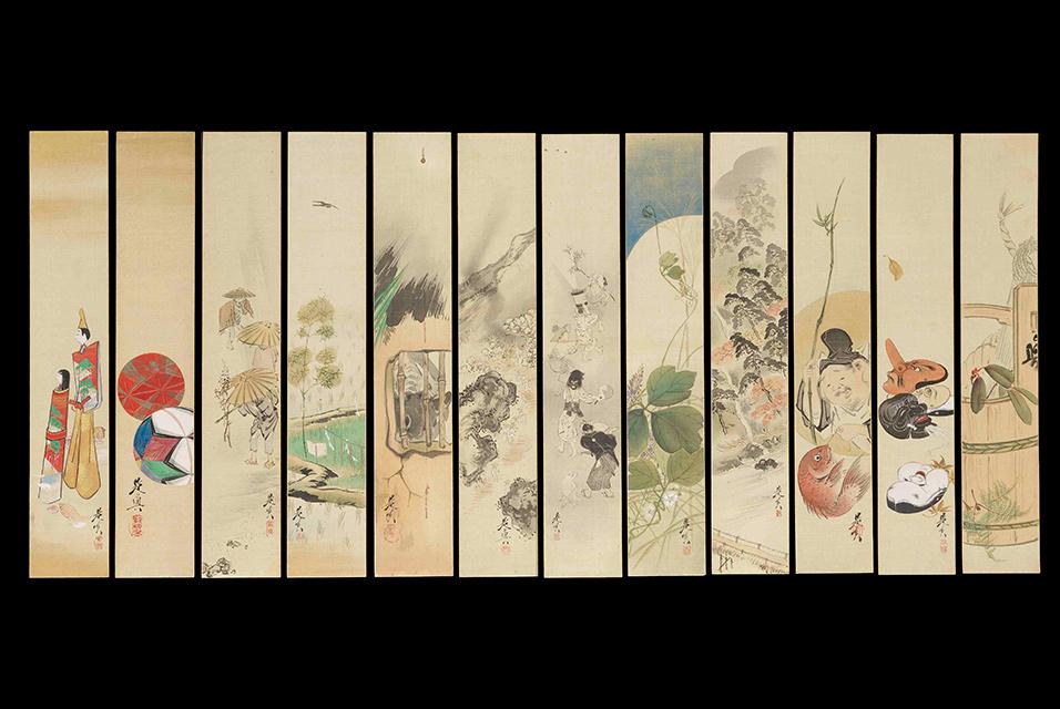 Shibata Zenshin, 12-elementowy zestaw obrazów i poezji, źródło: Bonhams