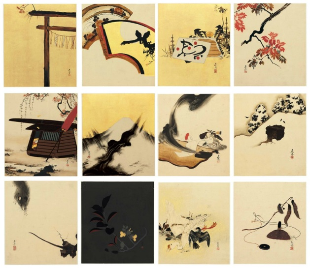 Shibata Zenshin, Album 12 obrazów wykonanych z laki, sprzedanych przez Christie's w Nowym Jorku za 400 tys. dolarów (1,2 mln złotych!)