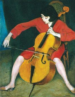 Róbert Berény, Kobieta Grająca na wiolonczeli, 1928, z kolekcji Muzeum Narodowego w Budapeszcie