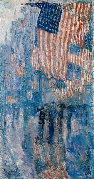 Frederick Childe Hassam, Aleja w deszczu, 1917, Biały Dom