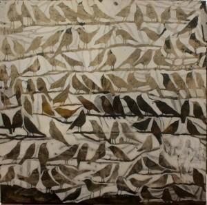 Izabela Kita, z Cyklu Ptasie Koncerty, 2014, akryl na płótnie, 90x90cm, sygn. p.p.