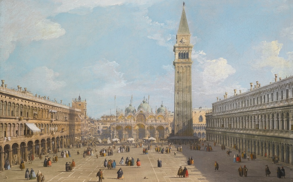 Canaletto, VENICE, THE PIAZZA SAN MARCO LOOKING EAST TOWARDS THE BASILICA, źródło: Sotheby's