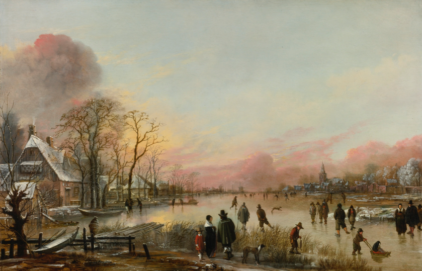 Aert van der Neer, FROZEN RIVER AT SUNSET, źródło: Sotheby's