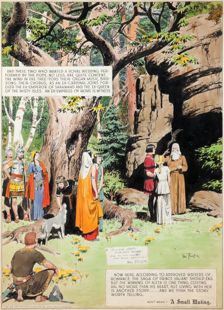 Hal Foster, Prince Valiant, Sunday Comic Strip, Wedding of Val, źródło: Heritage Auctions