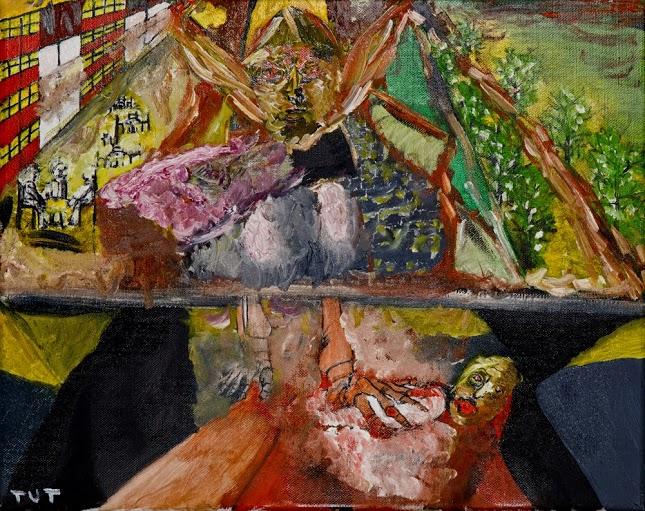 Wojciech Tut Chechliński, Lot świętoszków, olej na płótnie, 40 x 50 cm, 2013 r, sygnowany (kat. 024)
