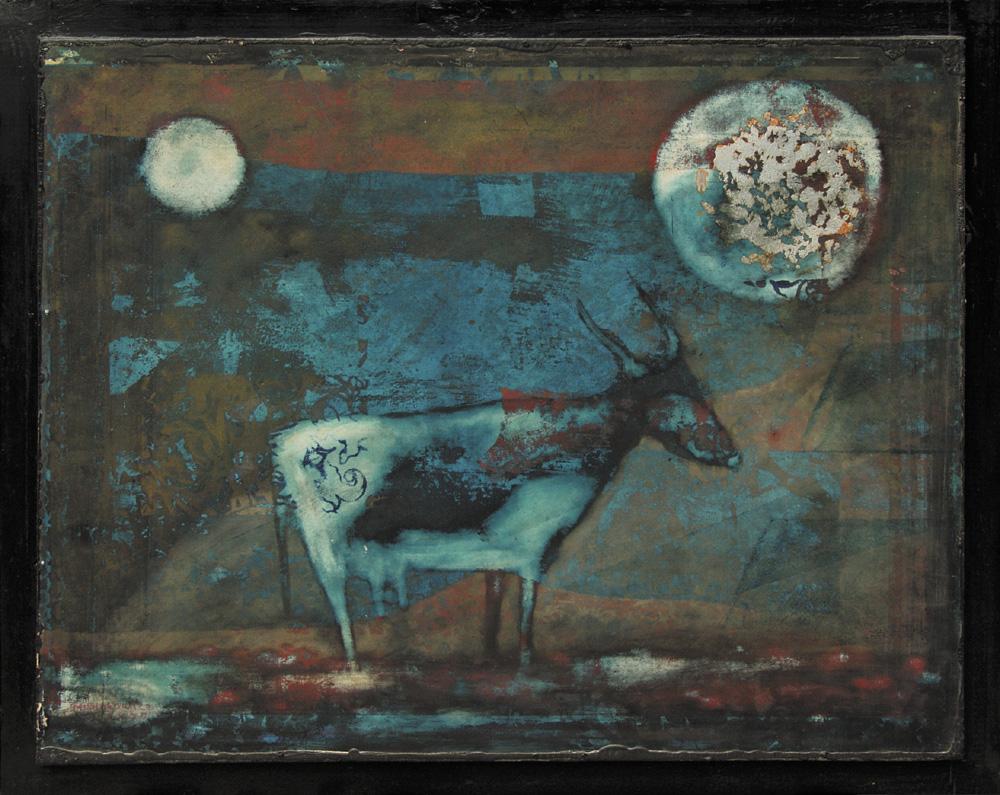 Henryk Musiałowicz, Krajobraz Animalistyczny, 1974-1978, źródło: Agra-Art, obraz sprzedany za 14 tys. zł w 2007 roku.