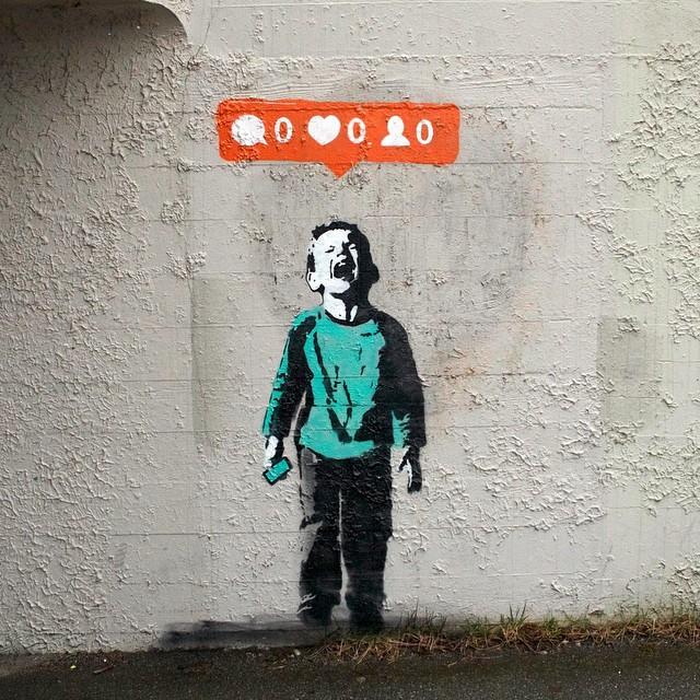 Praca Banksy'ego wyśmiewająca Instagrama
