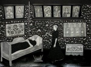 Berenika Kowalska, Dzwoneczek loretański i przewrócone stołki, wycinanka 34x46cm ołówek,karton 2012, fot. dzięki uprzejmości artystki