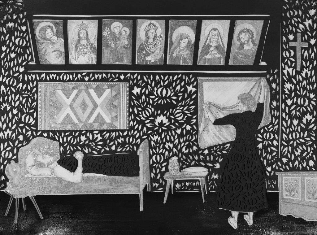 Berenika Kowalska, Zasłanianie luster, wycinanka, ołówek na kartonie, 2012, 34 x 46 cm