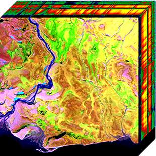 Graficzna prezentacja danych z pomiarów wykonanych hiperspektralną kamerą. Zdjęcie z NASA.