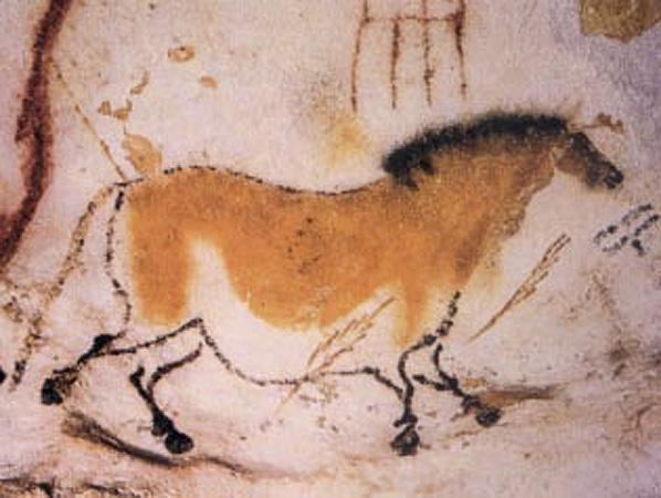 Prehistoryczny mural w jaskini Lascaux przedstawiający galopującego konia, źródło: Wikipedia