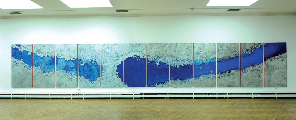Yamauchi Ryohsuke, Bóg piorunów – Bóg wiatru, 2012, technika olejna na sklejce, 12 x 200 x 130 cm
