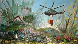 Piotr Saul, Helikopter zrzuca prezent, akryl, sprej, farba do tkanin, pastel na płótnie, 2014 r.