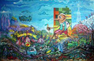 Piotr Saul, Pinokio, Aport,   akryl, druk cyfrowy, folia w płynie, szkliwo porcelanowe, farba do textyliów na płótnie, 2014 r.