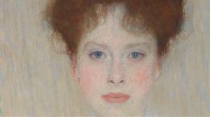 Fragment portretu autorstwa Gustava Klimta pt.: Portrait of Gertrud Loew -Gertha Felsőványi, 1902 źródło: Sotheby`s