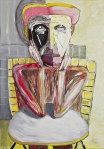 Wojciech Tut Chechliński, Oczekiwanie, olej na płótnie, 100 x 70 cm, 2012 r, sygnowany (kat. 071)