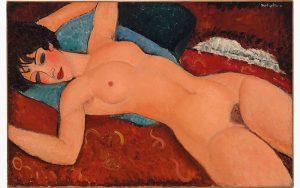 """Amedeo Modigliani, """"Akt leżący"""", 1917-1918, źródło: Christie's"""