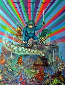 Piotr Saul, Małpa rządzi, ,100 x 70 cm olej, sprej, akryl na płótnie, 2014