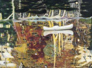 Peter Doig, Swamped, 1990, źródło: Christie's