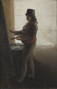 Francisco de Goya, Self Portrait in studio, źródło: artnet.com