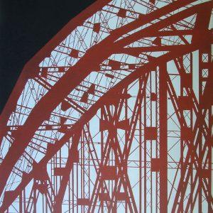 1031 Przemysław Kmieć Red bridge, olej akryl, 80x60