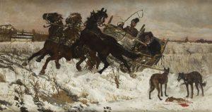 Józef Chełmoński (1849 Boczki k. Łowicza - 1914 Kuklówka na Mazowszu) W podróży , 1878 r, źródło: DESA Unicum