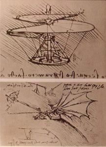 Leonardo da Vinci, projekt helikoptera i lotni