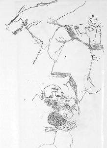 Peperski, Z cyklu '00:59 (one to one)', 04414, 2014 r. marker akrylowy/przezroczysta folia, 200 x 135 cm, źródło: DESA Unicum