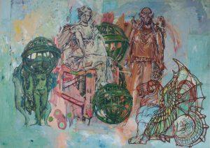 ID 1209, Ogrody Tuilieres, cykl Ożywione pomniki Paryża, 2009 ,technika własna collage, malarstwo temperowe na kartonie z rysunkiem kolorowymi pisakami i fragmen