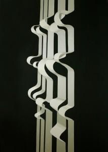Janina Wierusz Kowalska, Białe wstęgi (White ribbons), akryl na płótnie, 204 x 144 cm, 2013